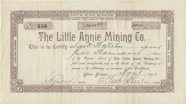 Vintage Aspen Mining Claim Maps and Photographs - Little Annie Mining Co. border=
