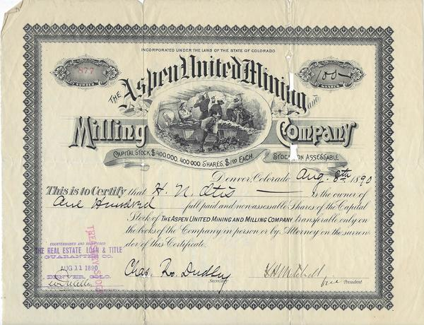 Vintage Aspen Mining Claim Maps and Photographs - Aspen United Mining Stock Certificate border=