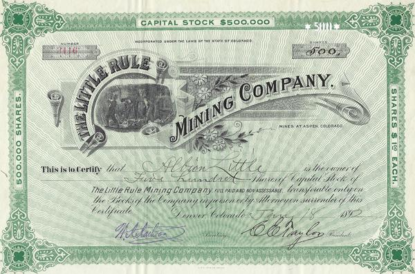 Vintage Aspen Mining Claim Maps and Photographs - The Little Rule Mining Company Stock Certificate border=