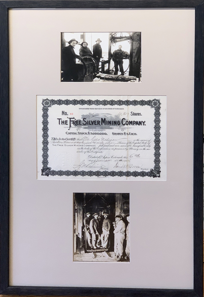 Vintage Aspen Mining Claim Maps and Photographs - The Free Silver Mining Company Stock Certificate and Deep Sea Divers border=