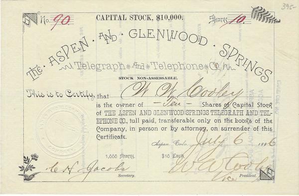 Vintage Aspen Mining Claim Maps and Photographs - Aspen and Glenwood Springs Telephone Co. Stock border=