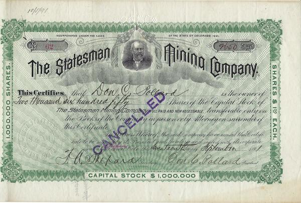Vintage Aspen Mining Claim Maps and Photographs - The Statesman Mining Company Stock Certificate border=