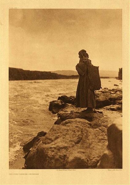 Edward S. Curtis -   Plate 277 The Fish Carrier - Wishham border=