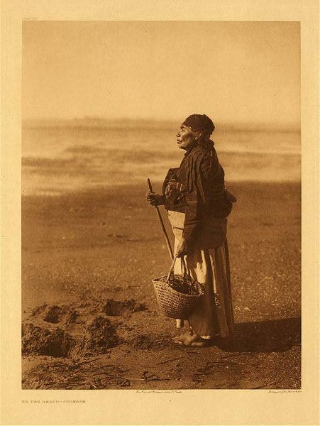 Edward S. Curtis - Plate 292 On the Beach - Chinook border=
