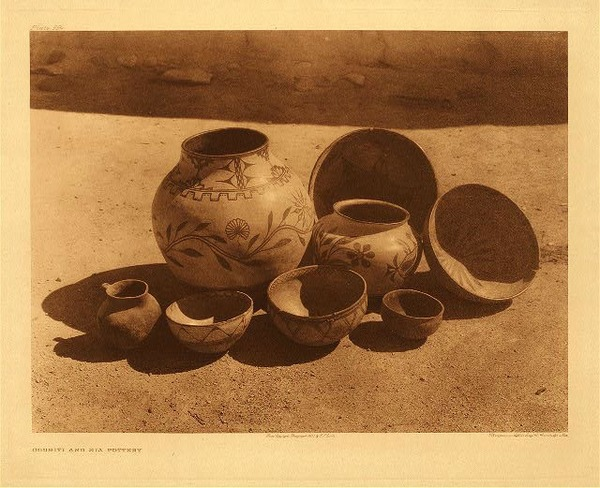 Edward S. Curtis - Plate 554 Cochiti and Sia Pottery border=
