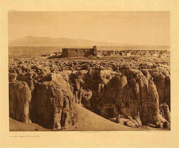 Edward S. Curtis -   Plate 566 Acoma from the South border=