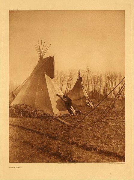 Edward S. Curtis - Plate 624  Cree Tipis border=