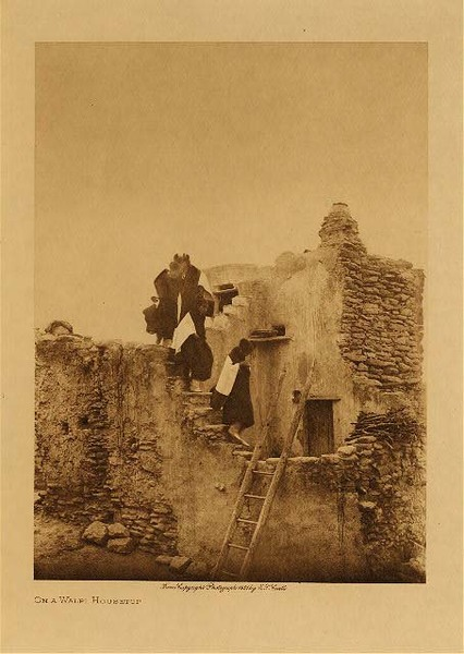 Edward S. Curtis - On a Walpi House border=