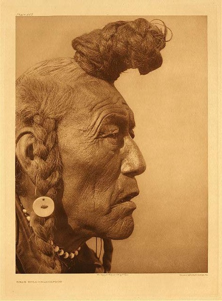 Edward S. Curtis -   Plate 640 Bear Bull - Blackfoot border=
