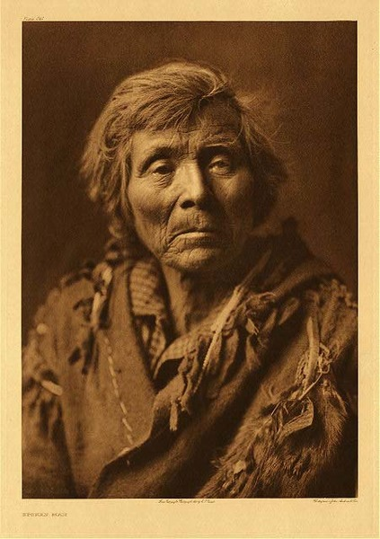 Edward S. Curtis -   Plate 241 Spokan Man border=