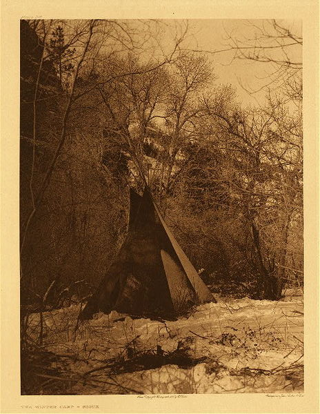 Edward S. Curtis -      Plate 106 The Winter Camp - Sioux border=