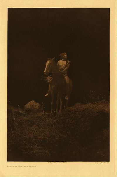 Edward S. Curtis - Plate 260 Night Scout - Nez Perce border=