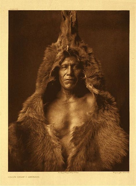 Edward S. Curtis -   Plate 150 Bear's Belly - Arikara border=