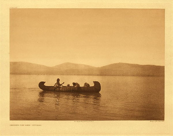 Edward S. Curtis - Plate 252 Crossing the Lake - Kutenai border=