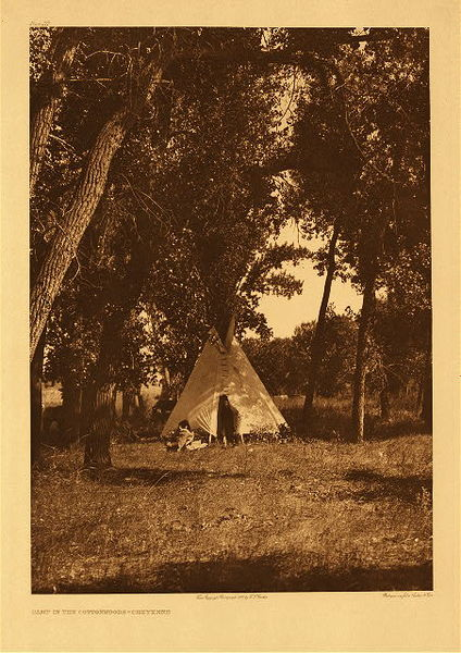 Edward S. Curtis -   Plate 217 Camp in the Cottonwoods - Cheyenne border=