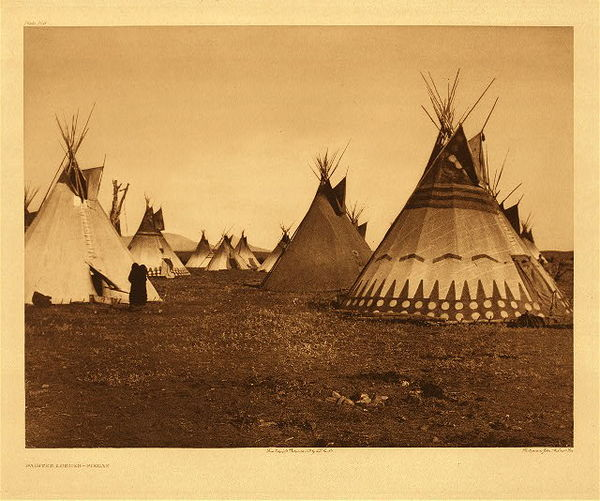 Edward S. Curtis - Plate 186 Painted Lodges - Piegan border=