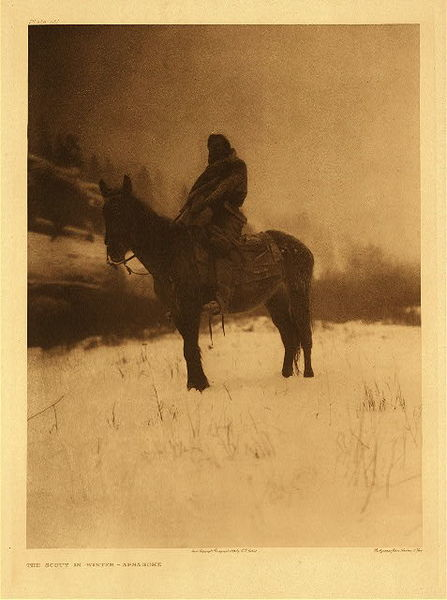 Edward S. Curtis - Plate 131 The Scout in Winter - Apsaroke border=