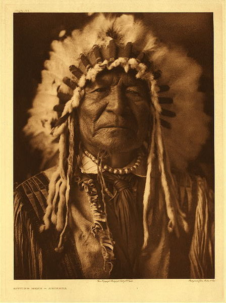 Edward S. Curtis - Plate 153 Sitting Bear - Arikara border=