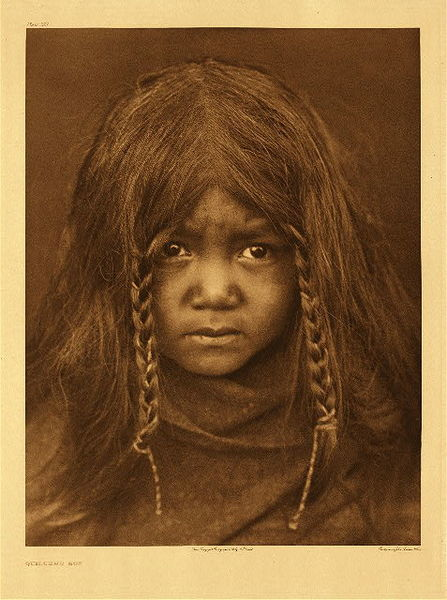 Edward S. Curtis - Plate 303 Quilcene Boy border=