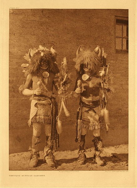 Edward S. Curtis -   Plate 600 Tesuque Buffalo Dancers border=