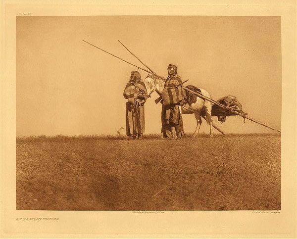 Edward S. Curtis - Plate 637 A Blackfoot Travois border=