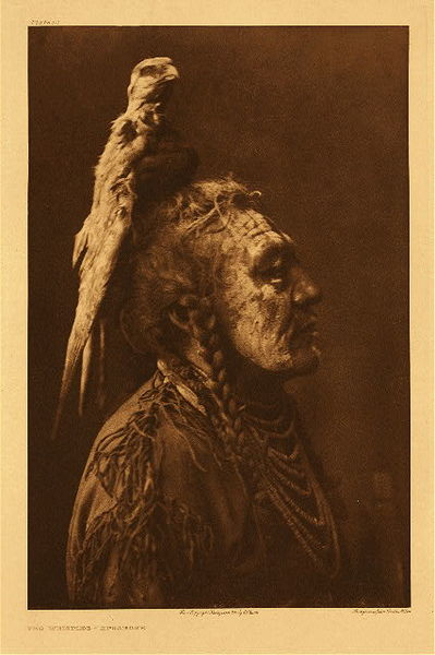 Edward S. Curtis -   Plate 111 Two Whistles - Apsaroke border=
