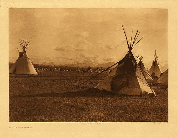 Edward S. Curtis - Plate 207 Piegan Encampment border=