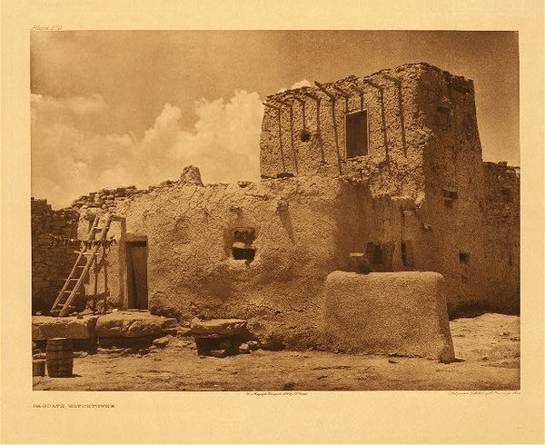 Edward S. Curtis - Plate 579 Paguate Watchtower border=