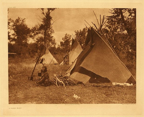 Edward S. Curtis -   Plate 620 A Sarsi Camp border=