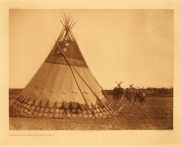 Edward S. Curtis - Plate 645 Lodge of the Horn Society - Blood border=