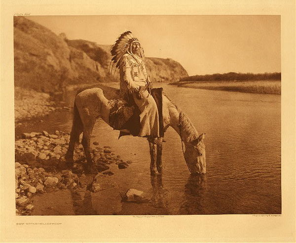 Edward S. Curtis -   Plate 644  Bow River - Blackfoot border=