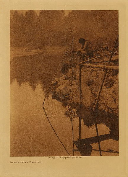 Edward S. Curtis - Fishing from a Platform border=