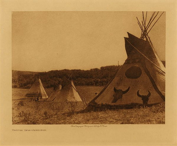 Edward S. Curtis - Painted Tipis - Assiniboin border=