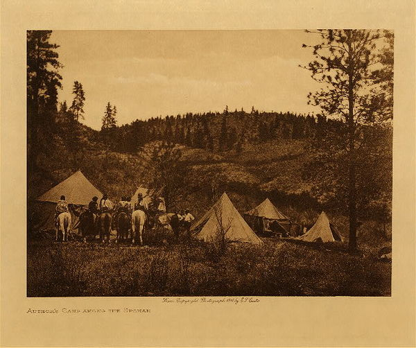 Edward S. Curtis - Author's Camp Among The Spokan border=