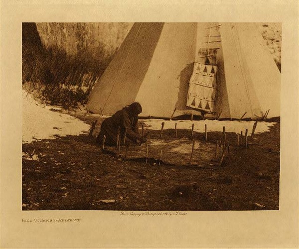 Edward S. Curtis - Hide Scraping - Apsaroke border=