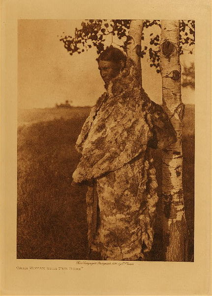 Edward S. Curtis - Cree Woman with Fur Robe border=