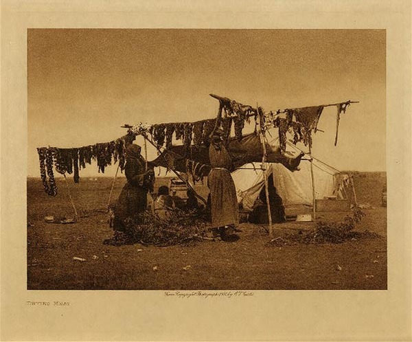 Edward S. Curtis - Drying Meat border=