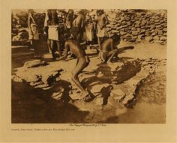Edward S. Curtis - Flute Dancers Dressing at Kachina House border=