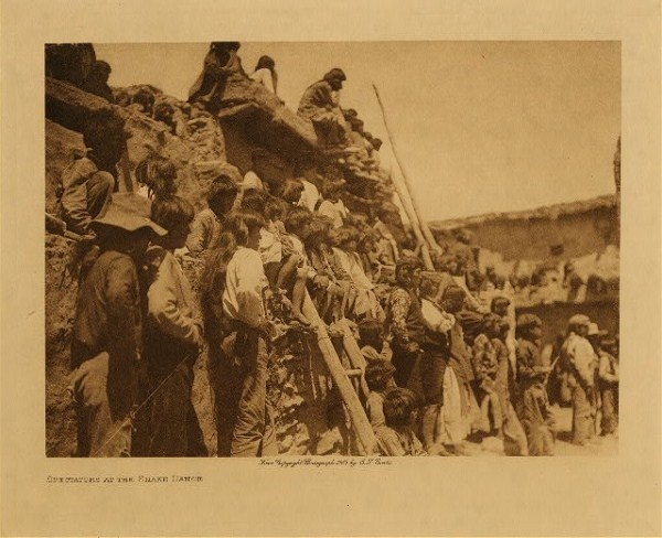 Edward S. Curtis - Spectators at the Snake Dance border=