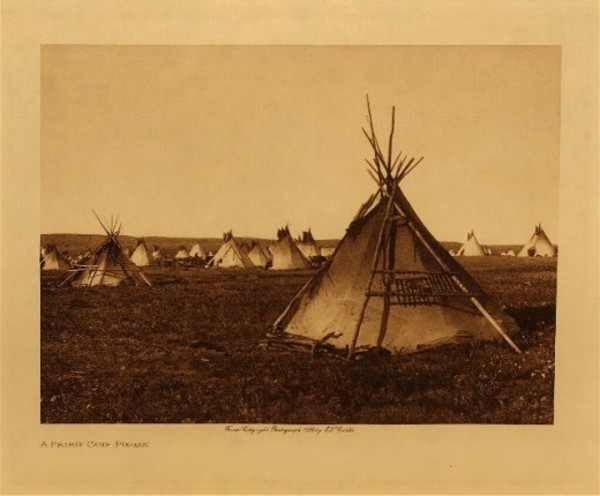 Edward S. Curtis - A Prairie Camp - Piegan border=