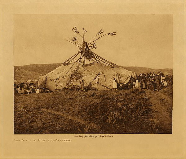Edward S. Curtis - Sun Dance in Progress - Cheyenne border=