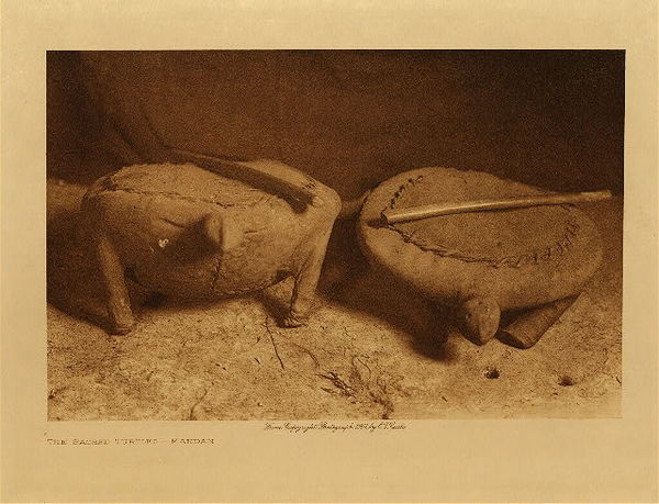 Edward S. Curtis - The Sacred Turtles - Mandan border=