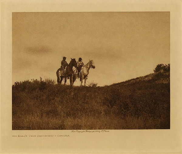 Edward S. Curtis - Big Road's Twin Daughters - Ogalala border=