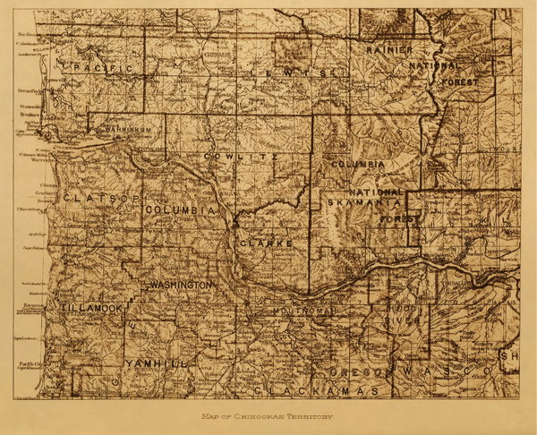 Edward S. Curtis - Map of Chinook Territory border=
