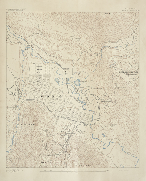Antique Aspen Mining Claim Maps - U.S. Geologicial Survey of Aspen border=
