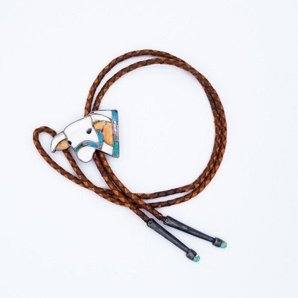 Old Pawn Jewelry - Bolo: Zuni Steerhead with Silver and Turquoise Tips border=