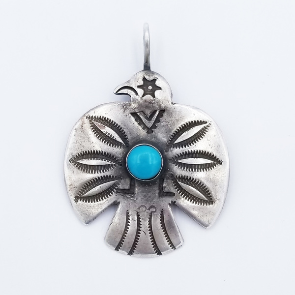 Old Pawn Jewelry - Pendant: Silver and Turqoise Thunderbird border=
