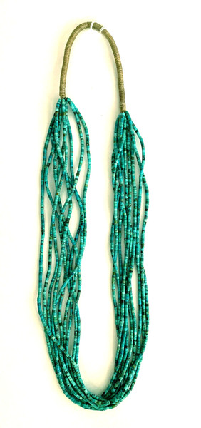Old Pawn Jewelry - Necklace: 10 Strand Turquoise w/Squaw Wrap border=