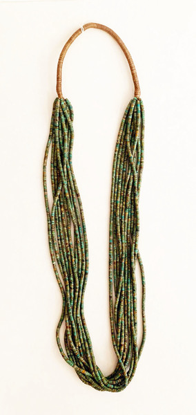 Old Pawn Jewelry - Necklace:  10 Strand Green Turquoise w/Squaw Wrap border=