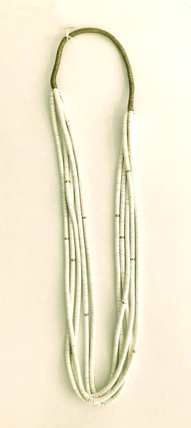 Old Pawn Jewelry - Necklace:  5 Strand White Clamshell w/Gold Beads Squaw Wrap border=